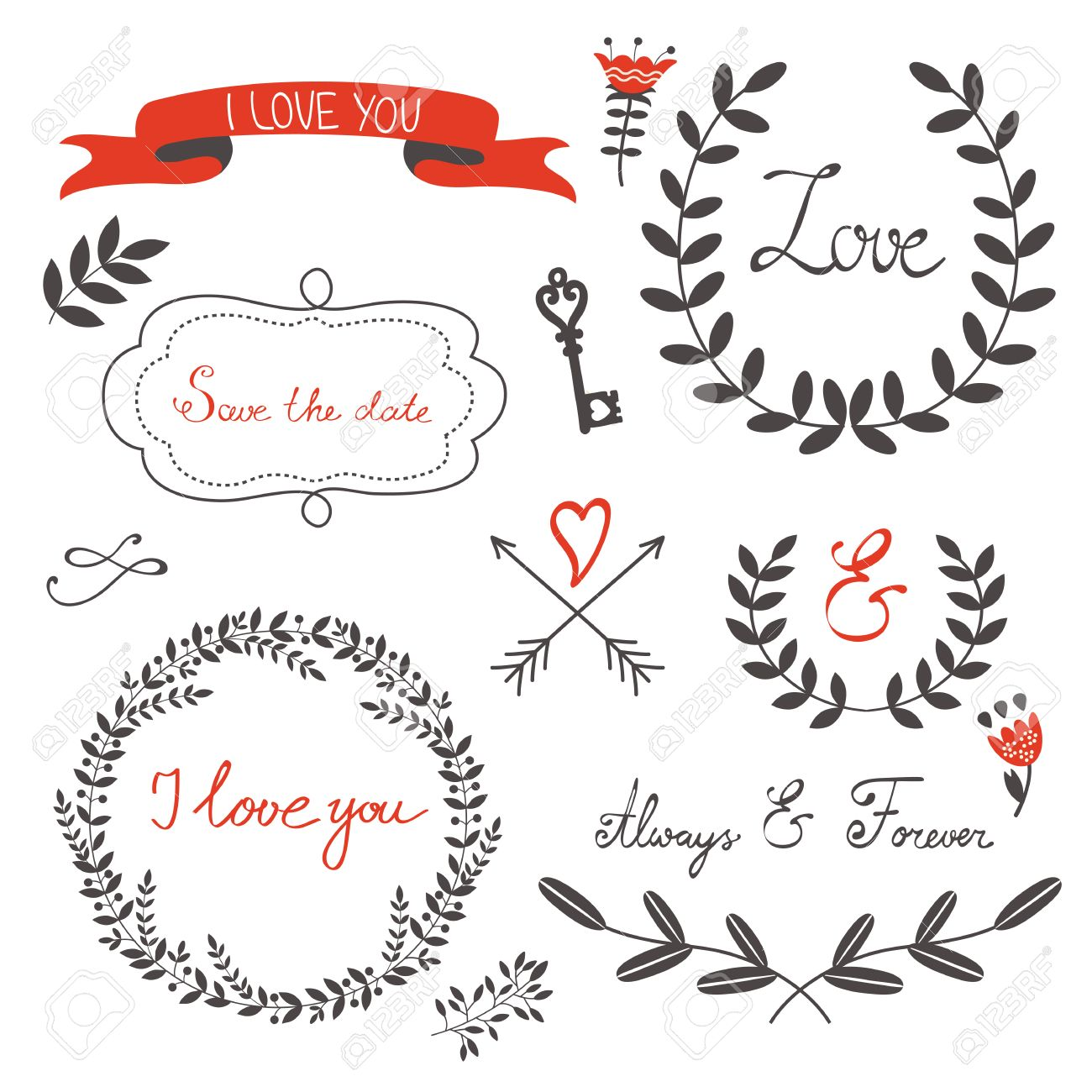 beautiful love set with elegant frames flowers and other graphic elements vector illustration stock - Elegant Frames