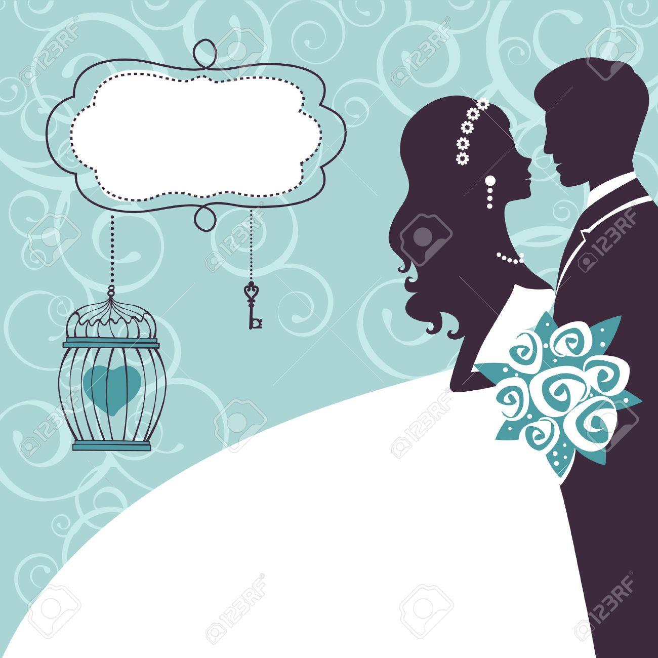Свадебная открытка с силуэтом