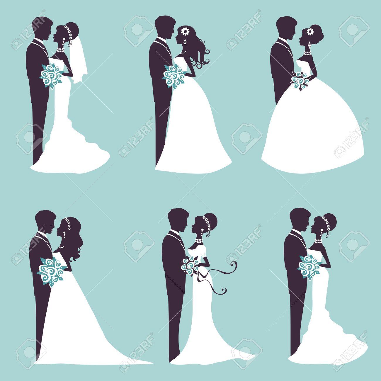六つの結婚式のカップル シルエット ベクトル形式のイラスト