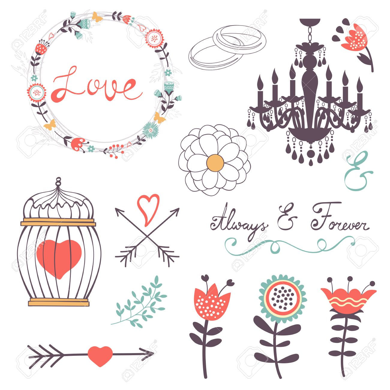 Elegant Collection Of Romantic Graphic Elements. Ideal For Wedding ...