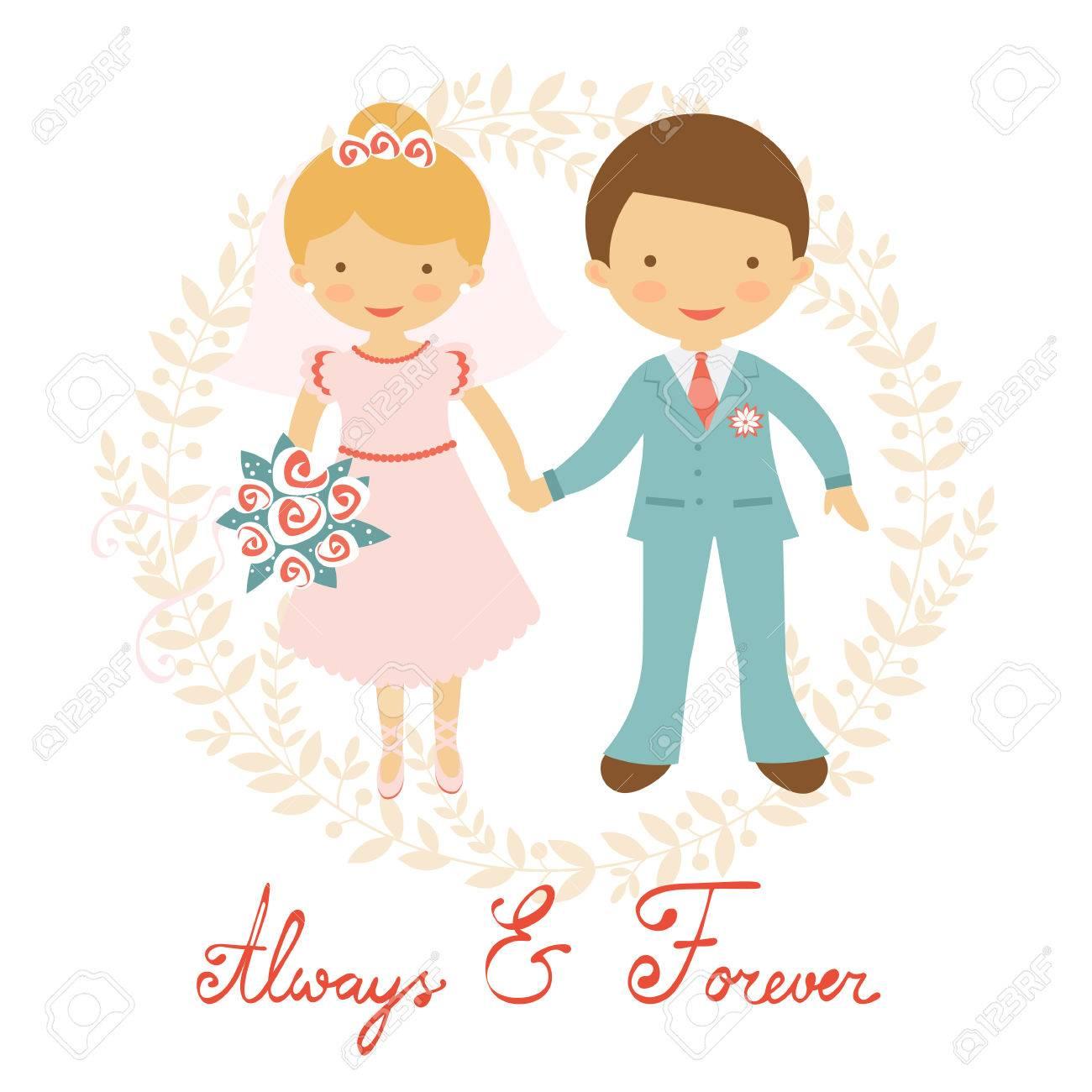 パステル カラーでかわいい結婚式のカップル。ベクトル イラスト