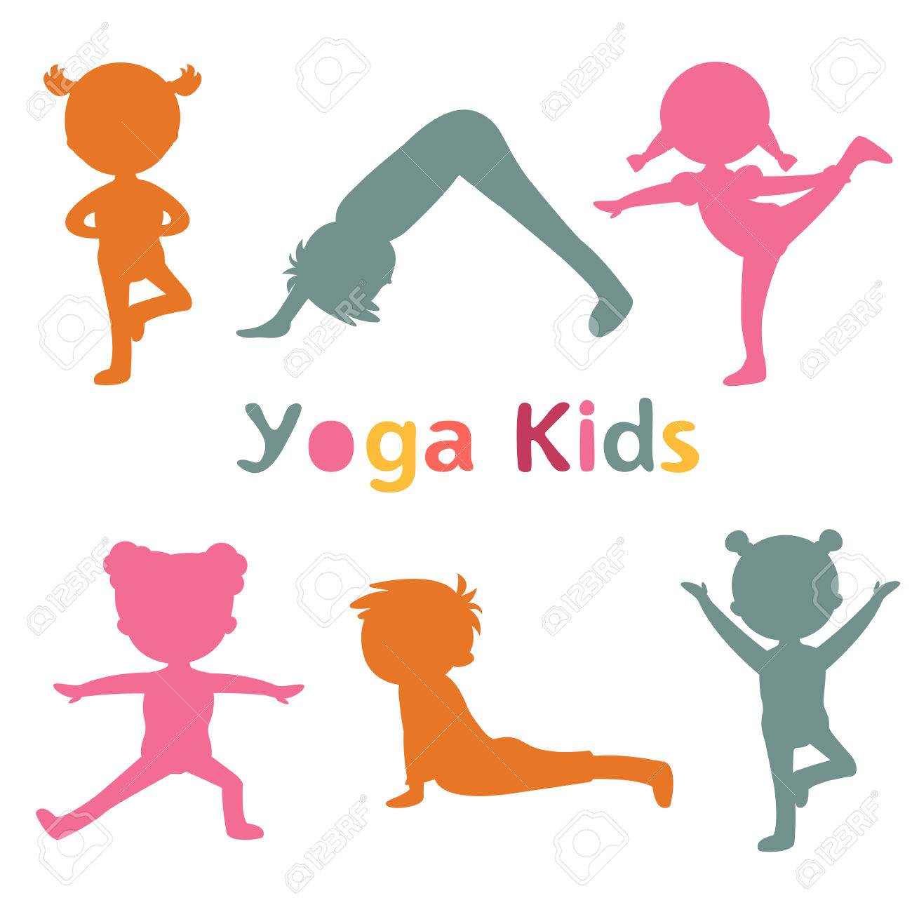 Cute Yoga Kids Silhouettes Stock Vector
