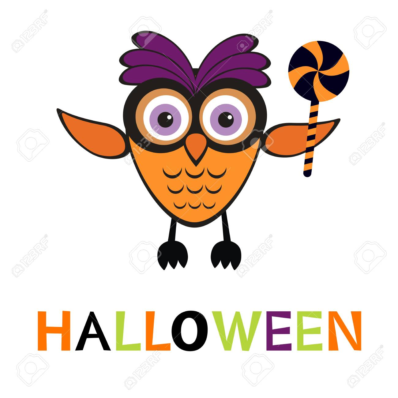 an illustration of cute halloween owl in vector format royalty free