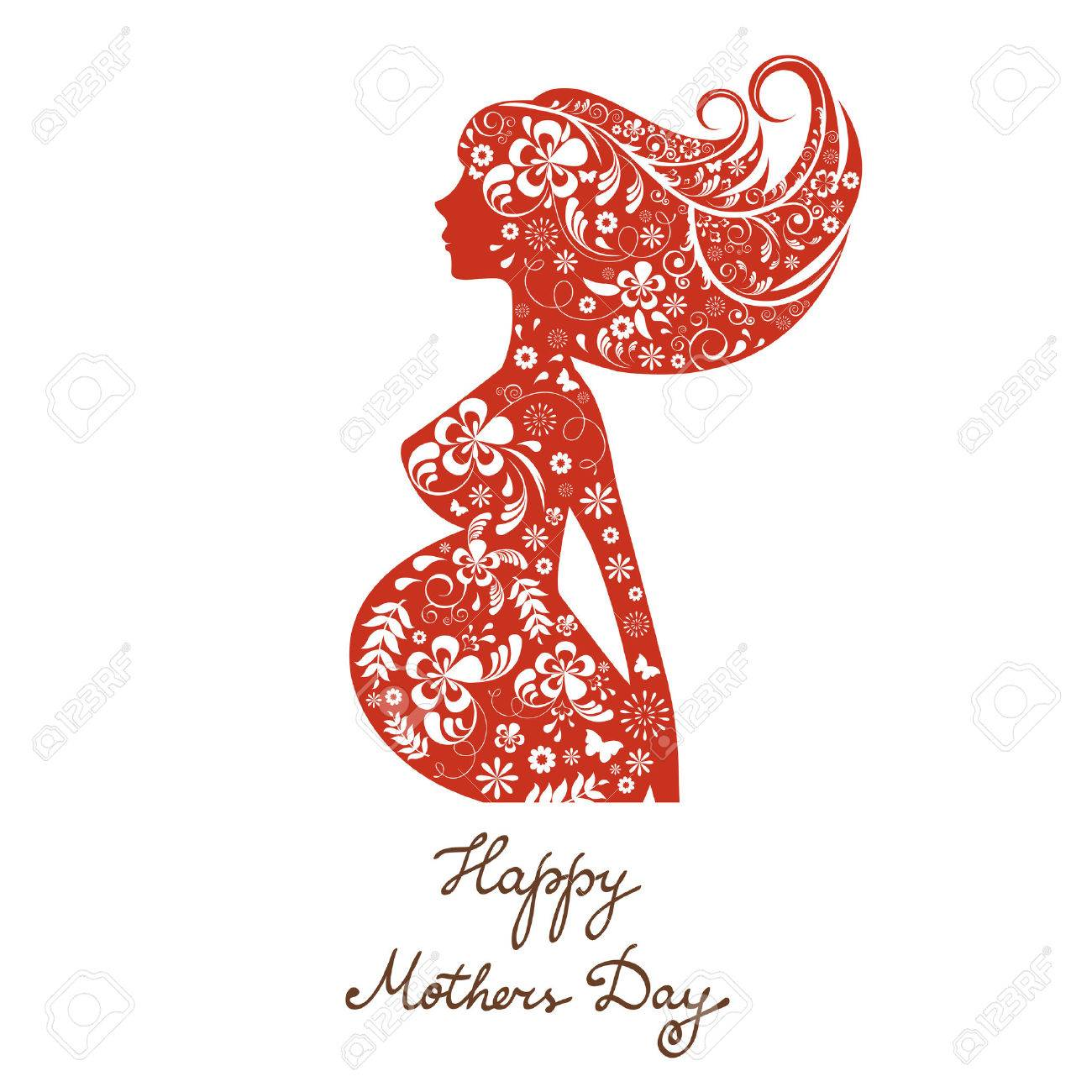 Beautiful mom to be floral silhouette happy mothers day card beautiful mom to be floral silhouette happy mothers day card stock vector 44899844 kristyandbryce Image collections