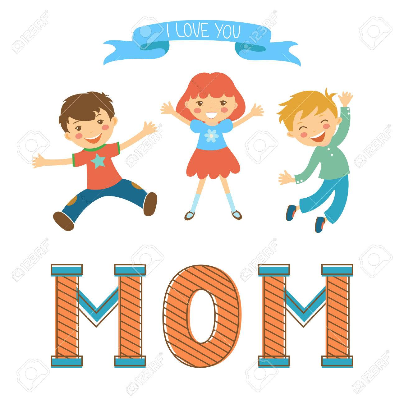 4b48666d8f Cute mothers day postcard withkids jumping over a word MOM in vintege style.  Illustration in