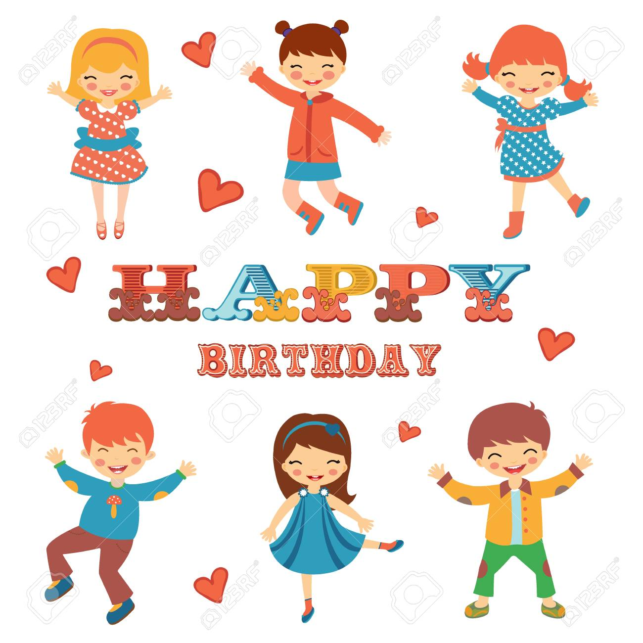 Stylish happy birthday card with cute kids jumping illustration stylish happy birthday card with cute kids jumping illustration in vector format stock vector bookmarktalkfo Choice Image