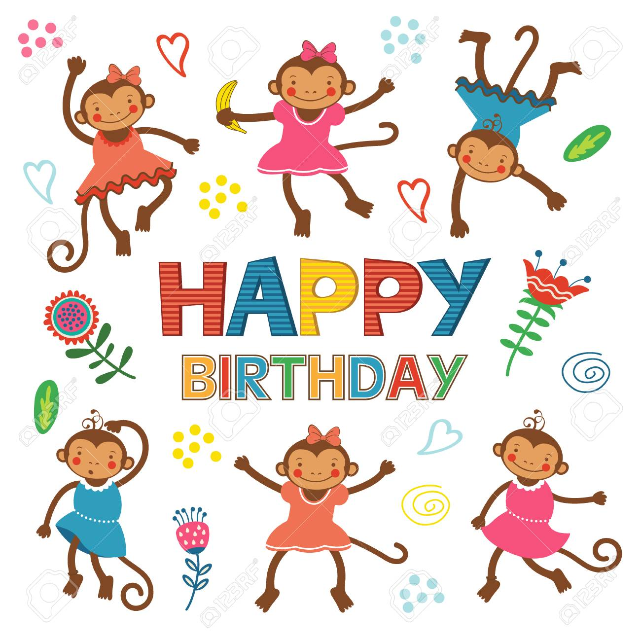 Stylish happy birthday card with cute monkeys playing and having stylish happy birthday card with cute monkeys playing and having fun illustration in vector format bookmarktalkfo Choice Image
