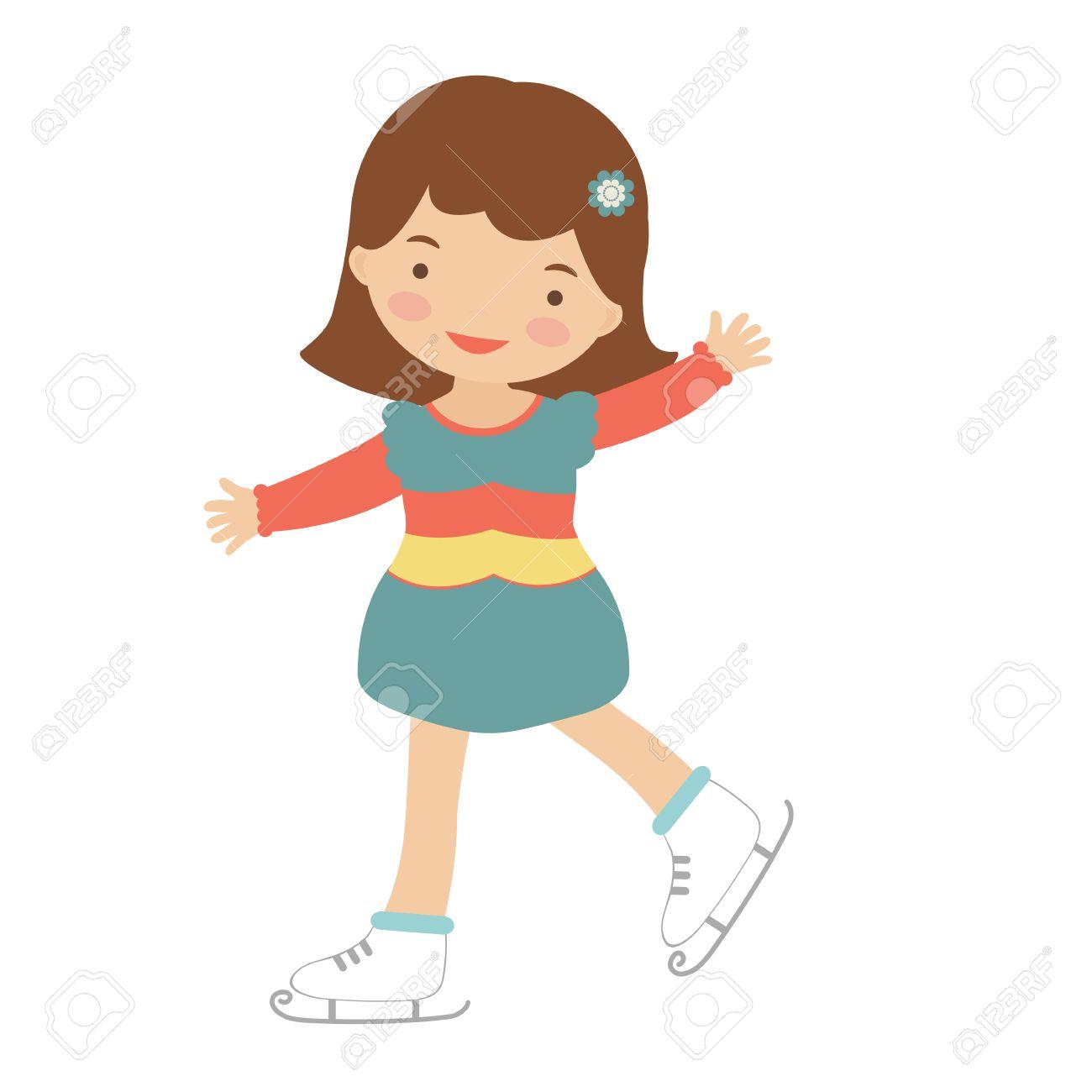 cute little girl ice skating illustration in vector format royalty rh 123rf com