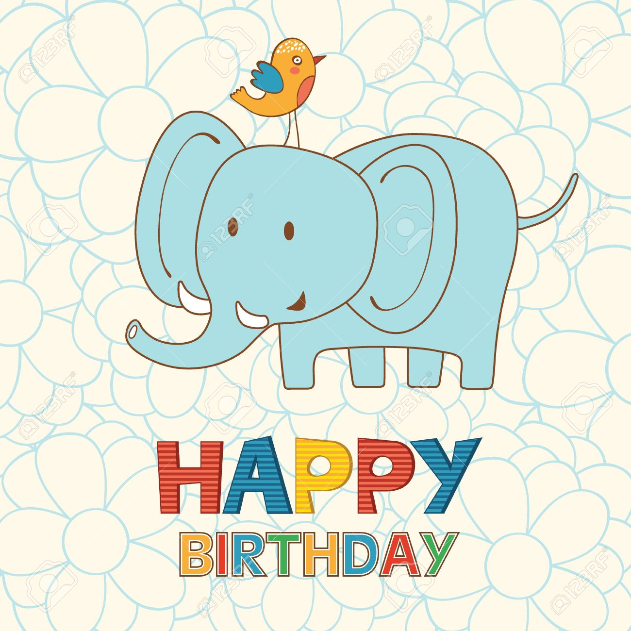 Cute Happy Birthday Card With Funny Elephant And Bird Vector Illustration Stock