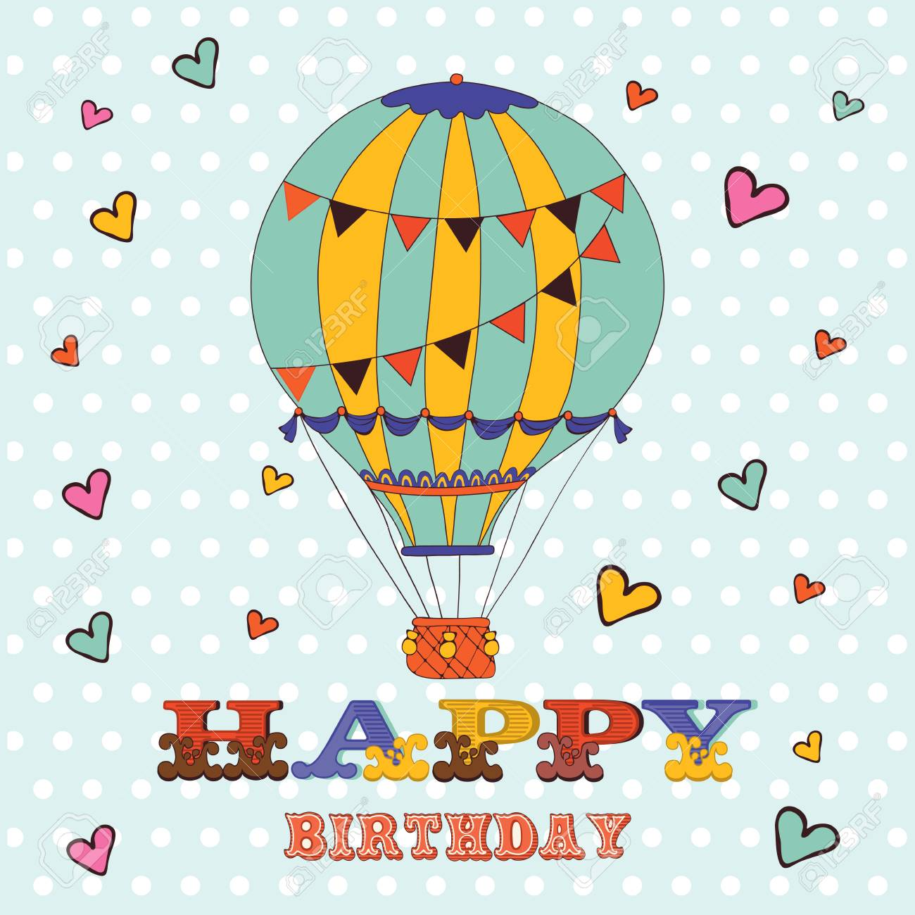 Happy birthday card with hot air balloon and hearts illustration happy birthday card with hot air balloon and hearts illustration in vector format stock vector bookmarktalkfo Image collections