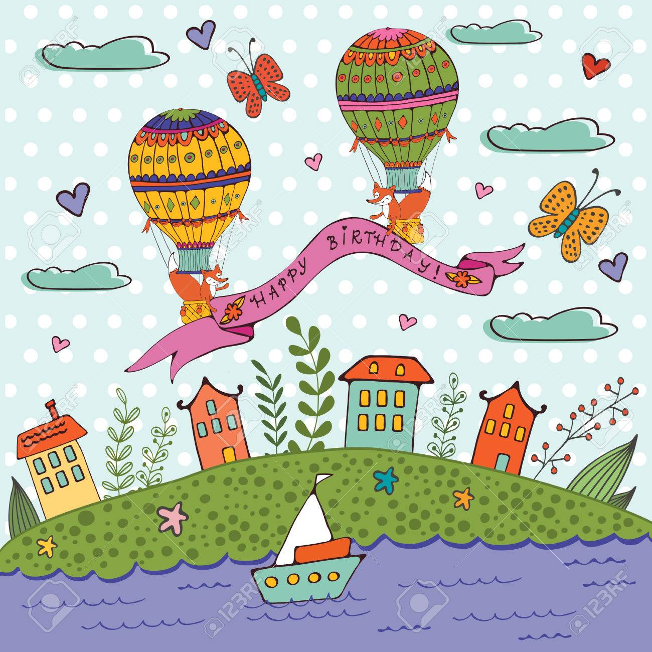 Happy birthday card with hot air balloons and houses illustration happy birthday card with hot air balloons and houses illustration in vector format stock vector bookmarktalkfo Image collections