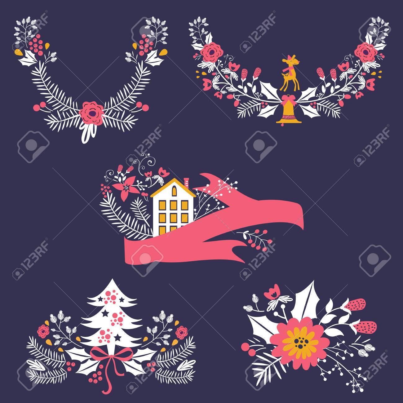 Banderas De La Navidad De Colores Y Laureles Con Flores, Pájaros ...