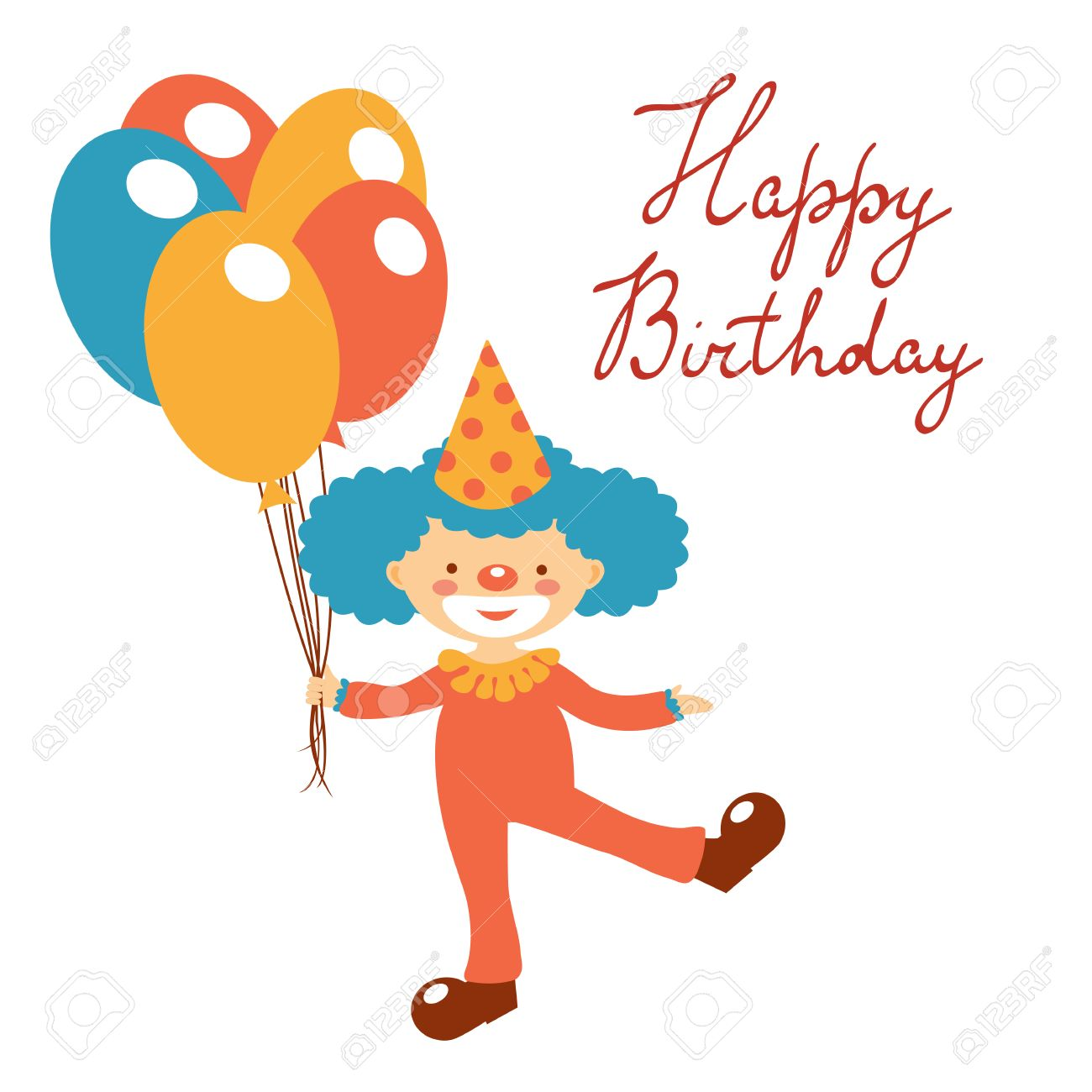 Stylish Happy Birthday Card With Cute Clown Holding Balloons – Birthday Card Format