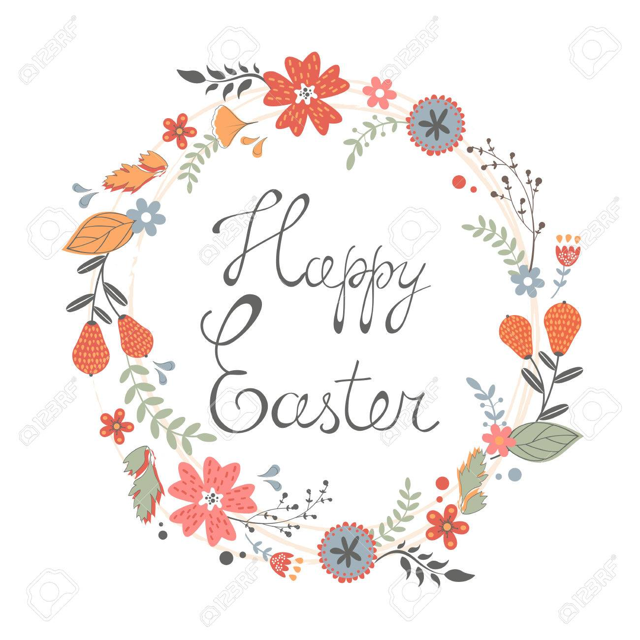 Beautiful Happy Easter Card With Floral Wreath Vector