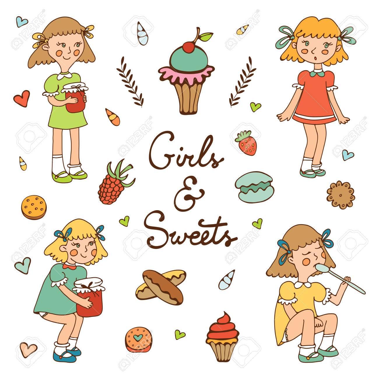 女の子の文字と様々 なデザートやお菓子のイラストベクトル形式の