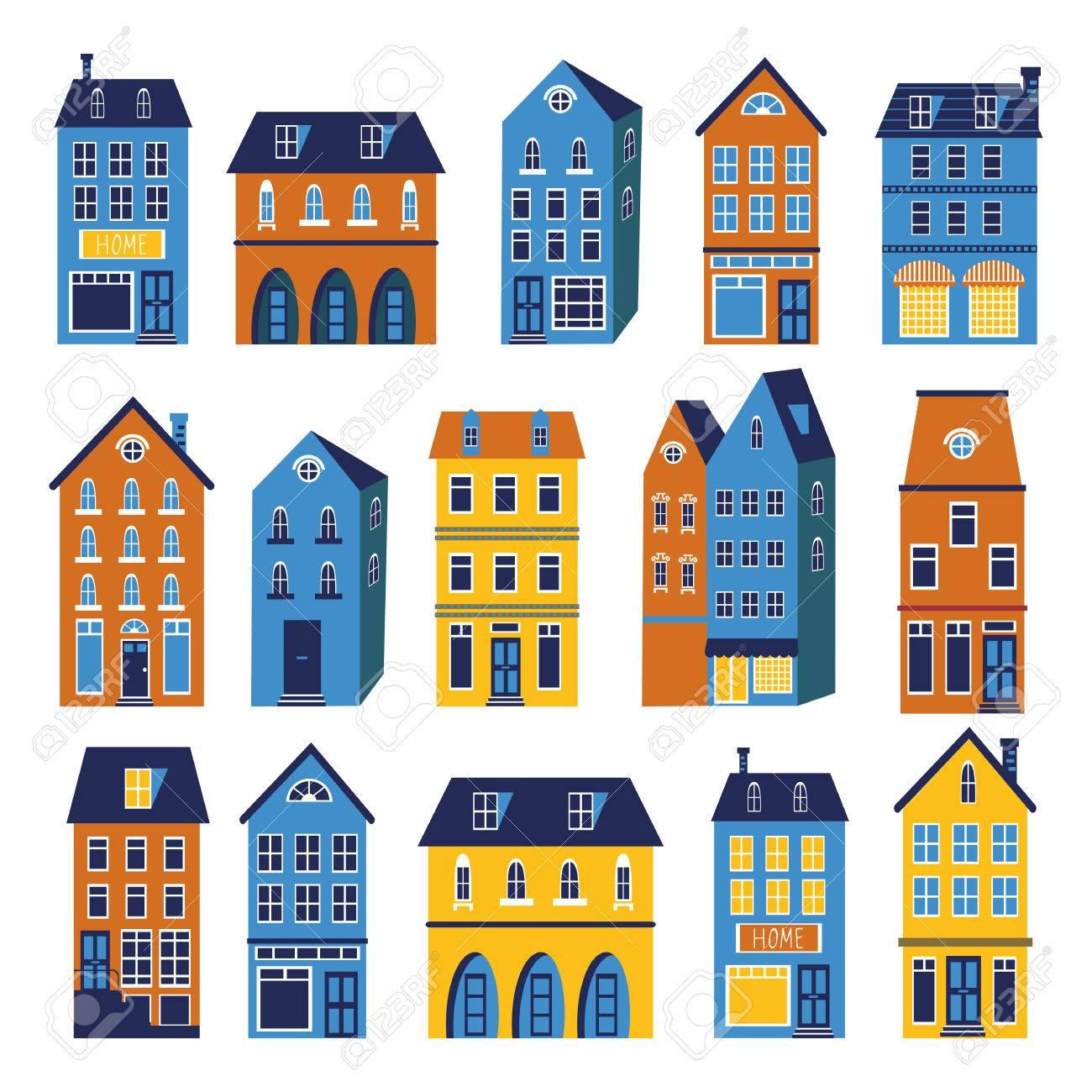 かわいい家のカラフルなセットベクトル形式のイラスト