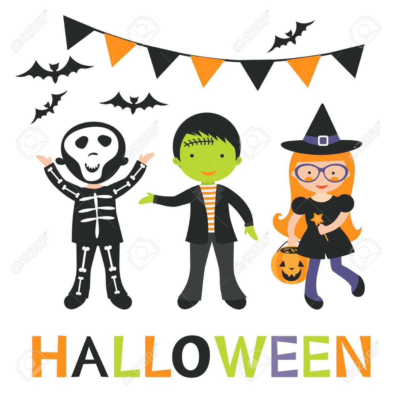 Illustration of cute Halloween kids in vector format - 64188502