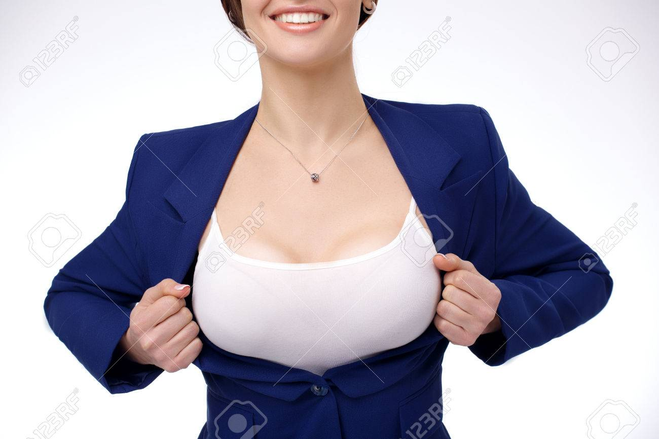 Sexy Young Businesswoman Taking Off Her Jacket And Showing Her Perfect Breasts Stock Photo 56582077