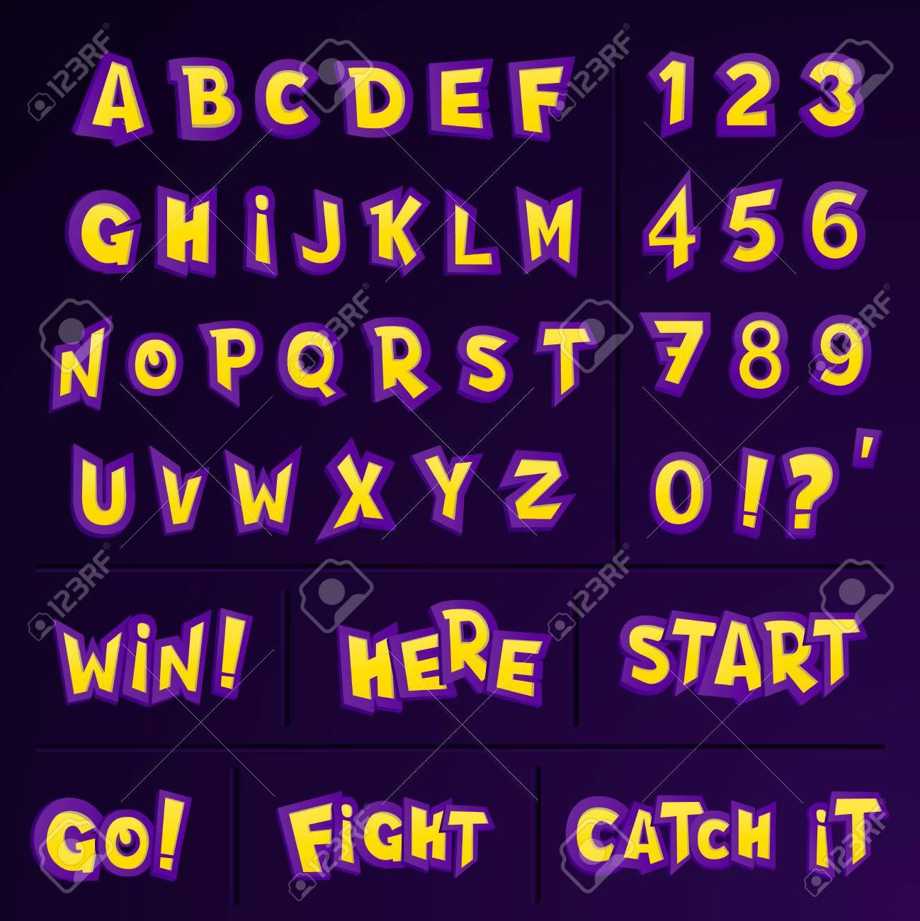 El Conjunto De Alfabeto De Dibujos Animados Letras Números Y Frases