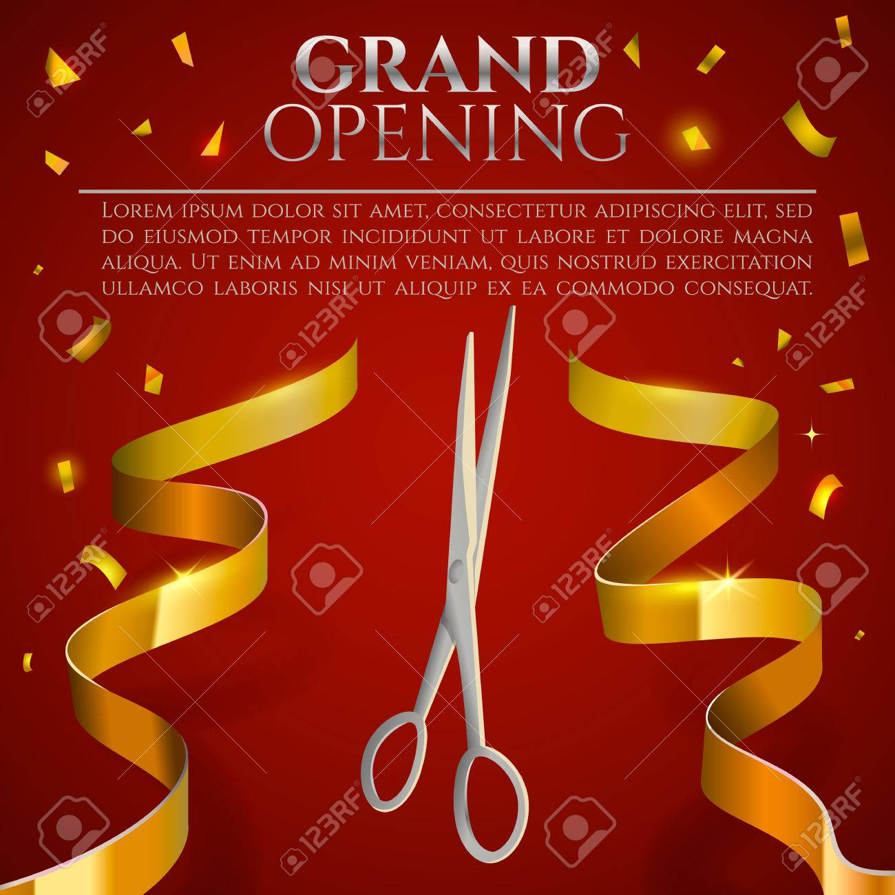 Grand opening invitation card ribbon cutting ceremony banner grand opening invitation card ribbon cutting ceremony banner stock vector 69777724 stopboris Images