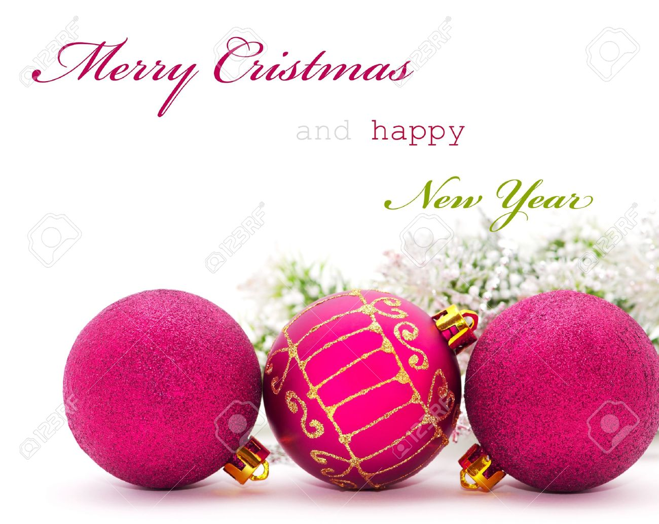 Christmas greeting card with pink baubles and sample text stock christmas greeting card with pink baubles and sample text stock photo 8406447 m4hsunfo