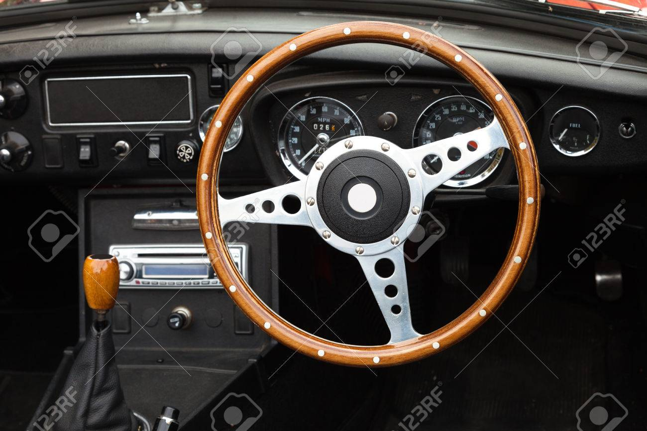 Wooden Steering Wheel From A Classic Mgb Roadster Sports Car Stock