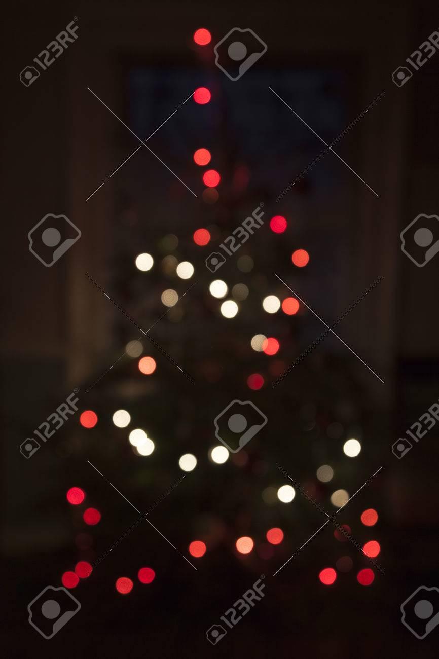 Red And White Christmas Lights.Christmas Tree Defocused Red And White Christmas Lights Creating