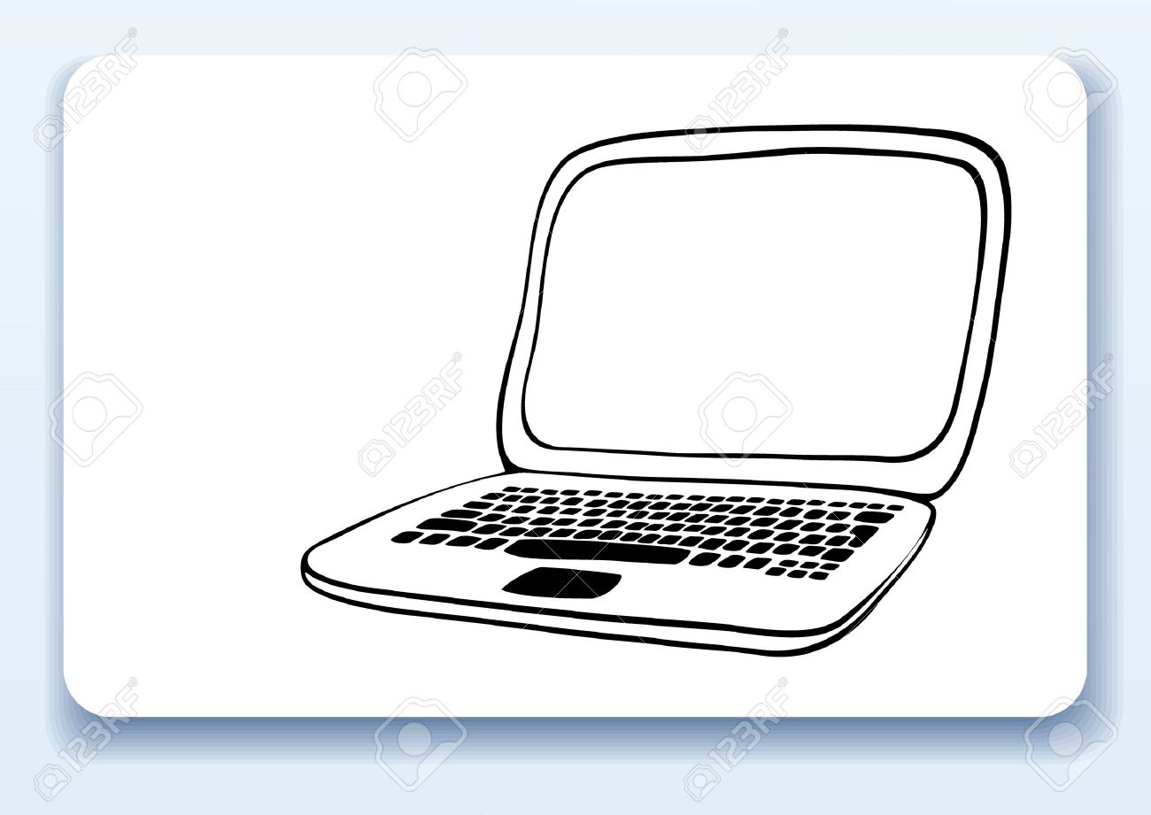 Business Card With Drawing Of A Laptop Royalty Free Cliparts ...