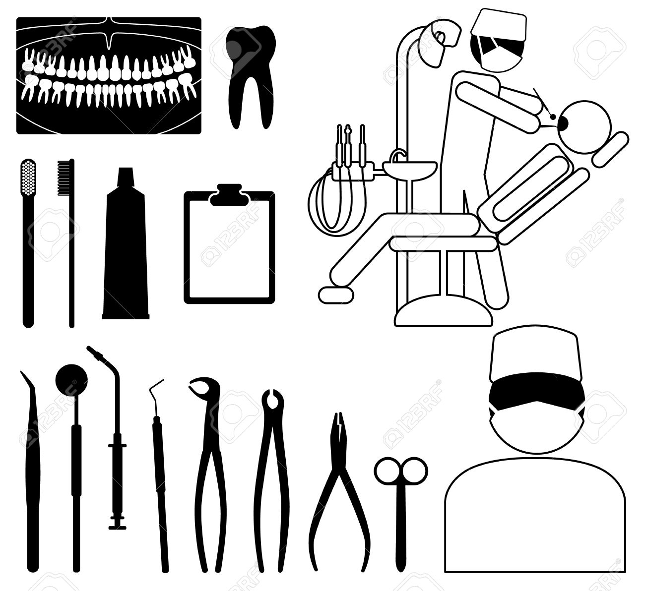 Dentist Medical Symbol Dentist Medical Icon Set With