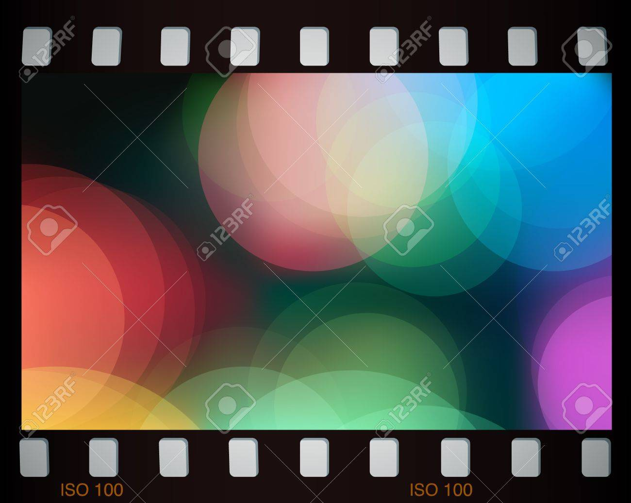 Abstract colorful lights in fim frame Stock Vector - 9343730