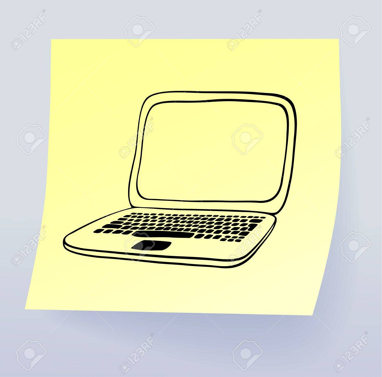 Laptop, drawing on sticky note, vector eps8 Stock Vector - 9487647
