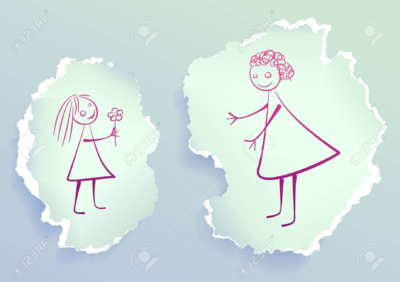 Girl giving flower to her mom, drawing on torn paper Stock Vector - 10740929