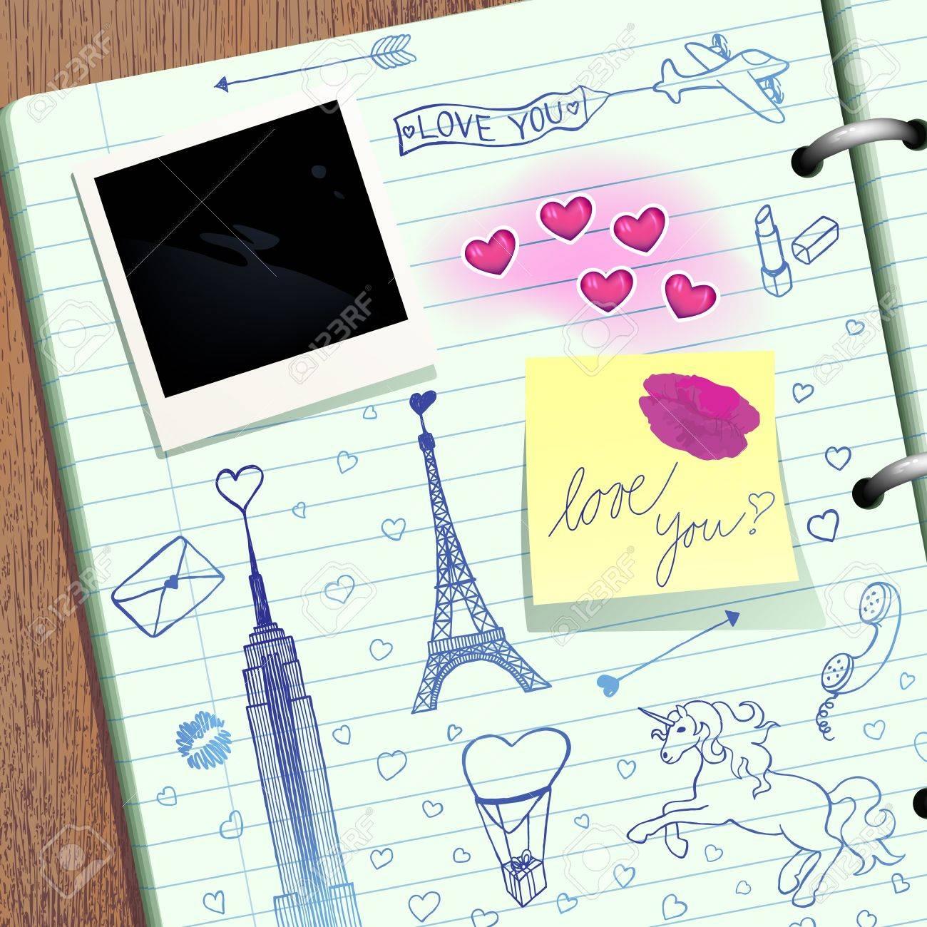 Valentine scrapbook. Stock Vector - 12409510