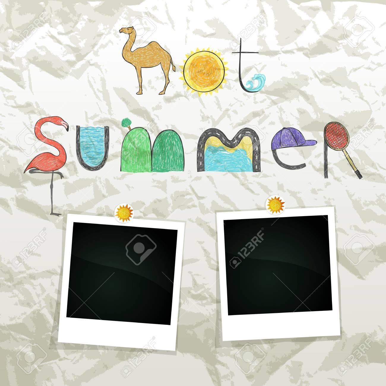 Summer grunge scrapbook with empty photos frame Stock Vector - 14540152