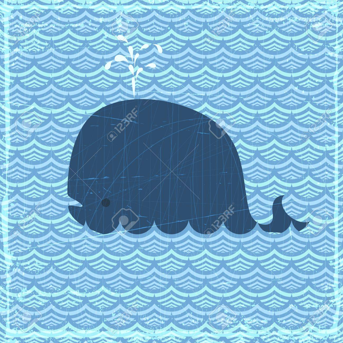 Grunge summer banner with whale, vector eps10 illustration Stock Vector - 14883884
