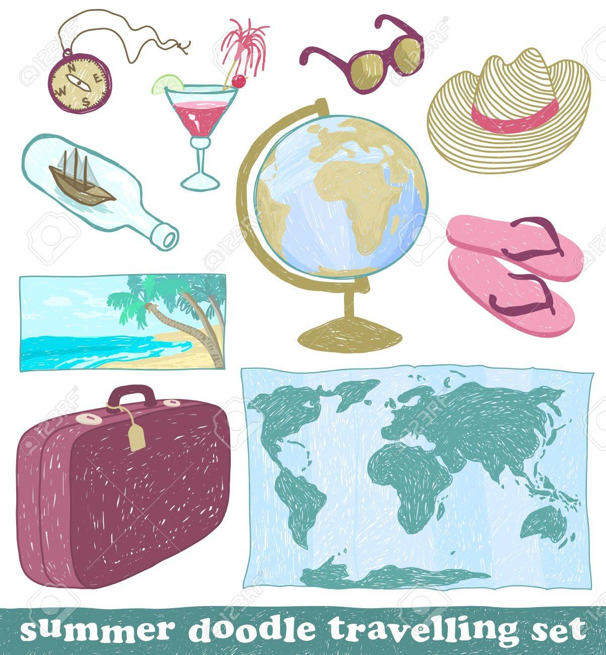 Set of summer doodle travelling icons, vector eps8 Stock Vector - 14979301
