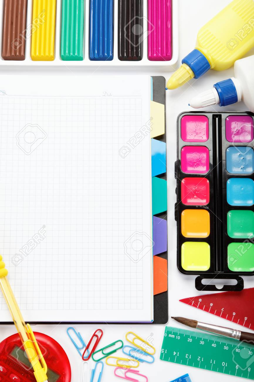 office and student accessories isolated over white background Back to school concept - 14791164