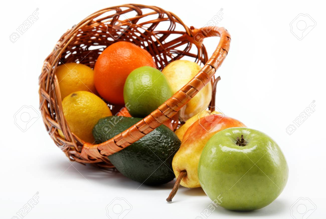fruits in basket isolated on a white background. Stock Photo - 15051046