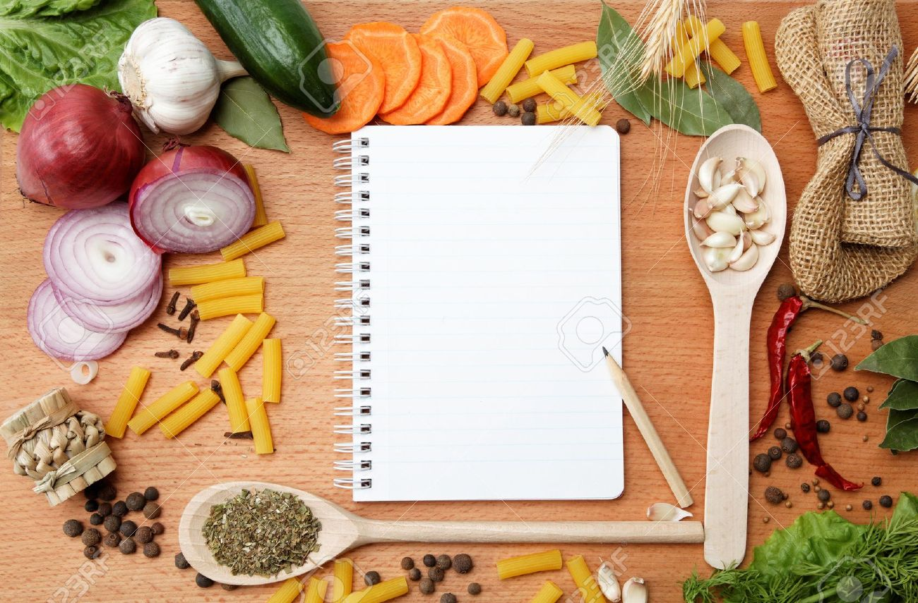 notebook for recipes and spices on wooden table Stock Photo - 15092446