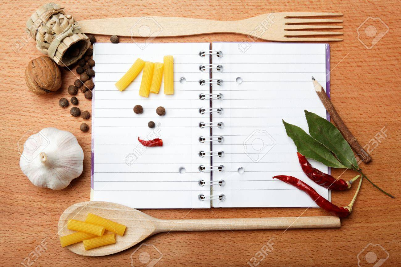 notebook for recipes and spices on wooden table - 15161131