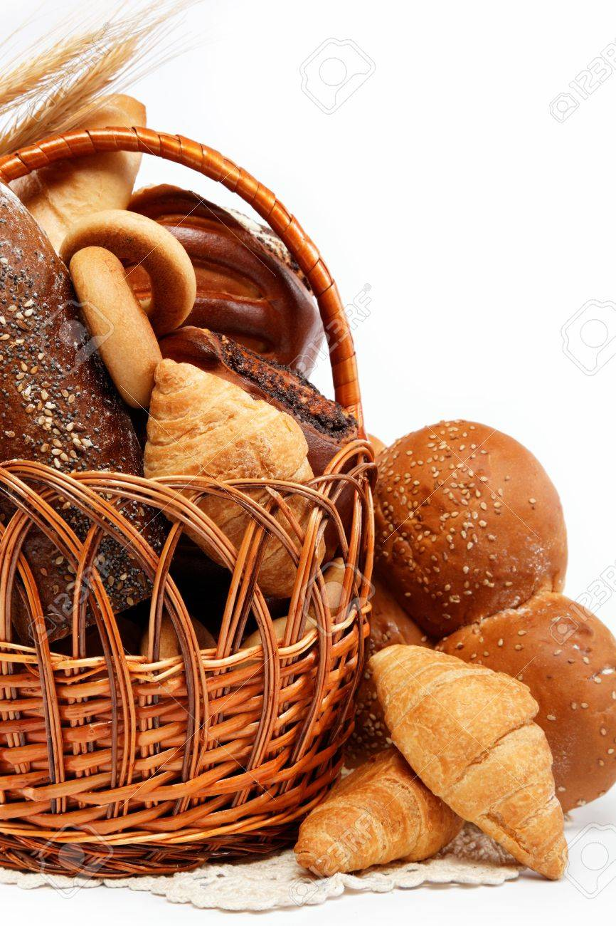 large variety of bread, still life isolate on white background - 15167537