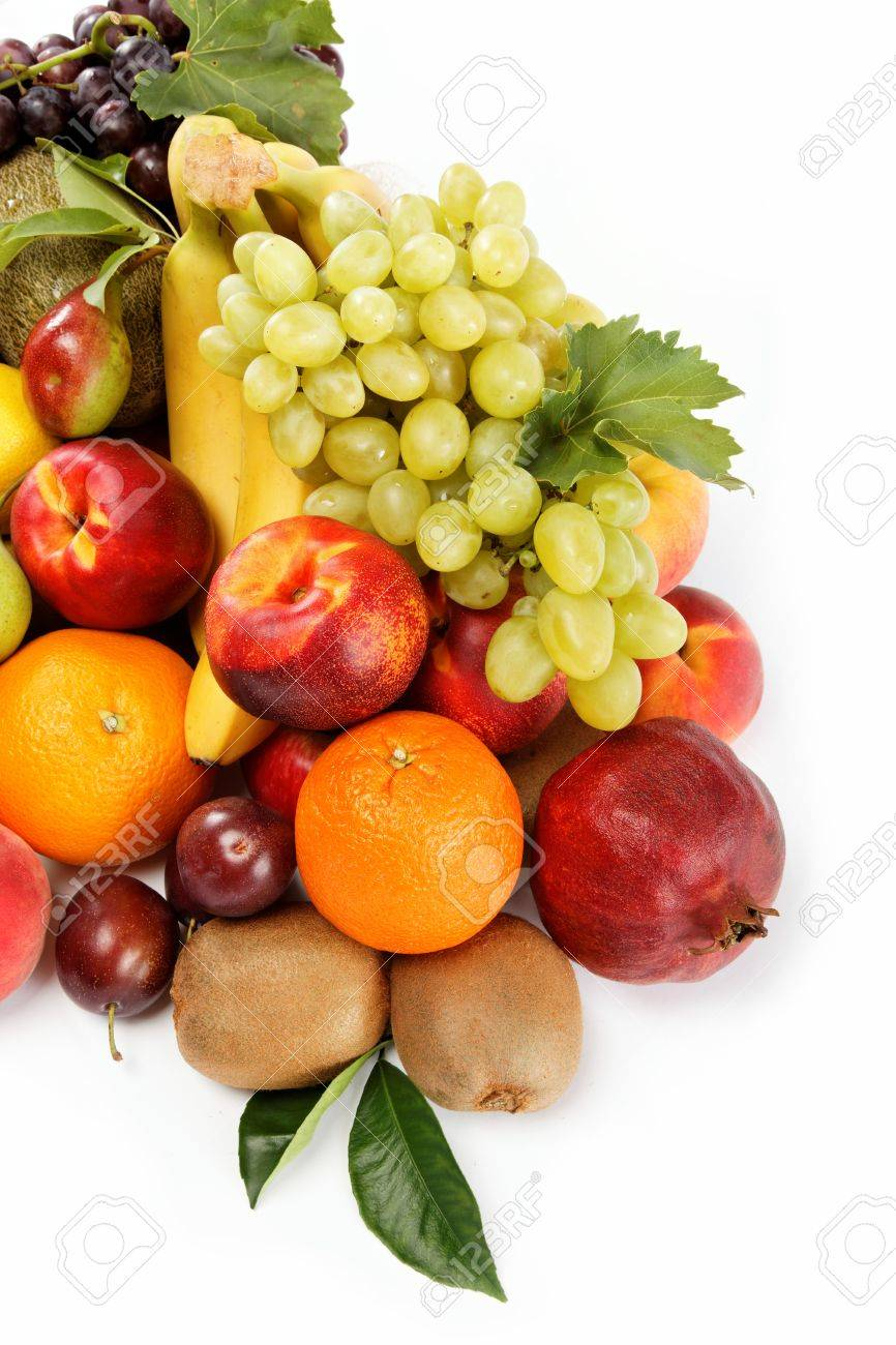 Fresh fruits isolated on a white background Set of different fresh fruits - 15426041