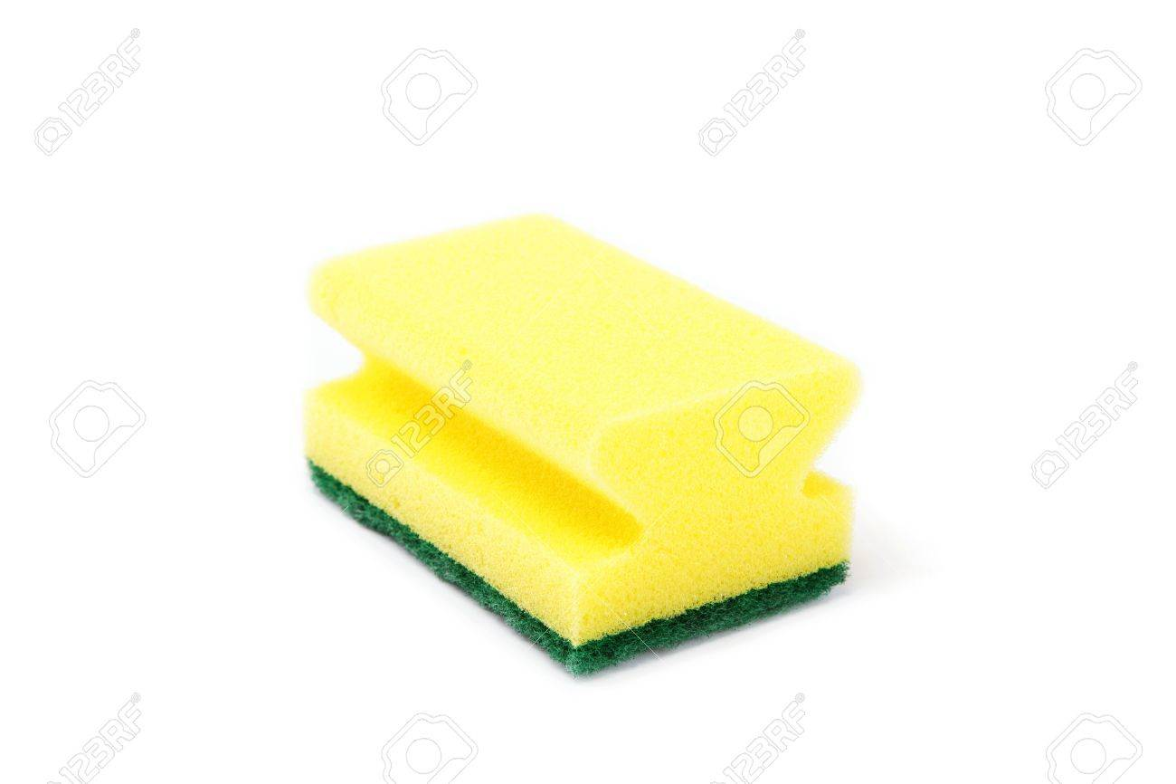 A kitchen sponge isolated against white background - 16612229