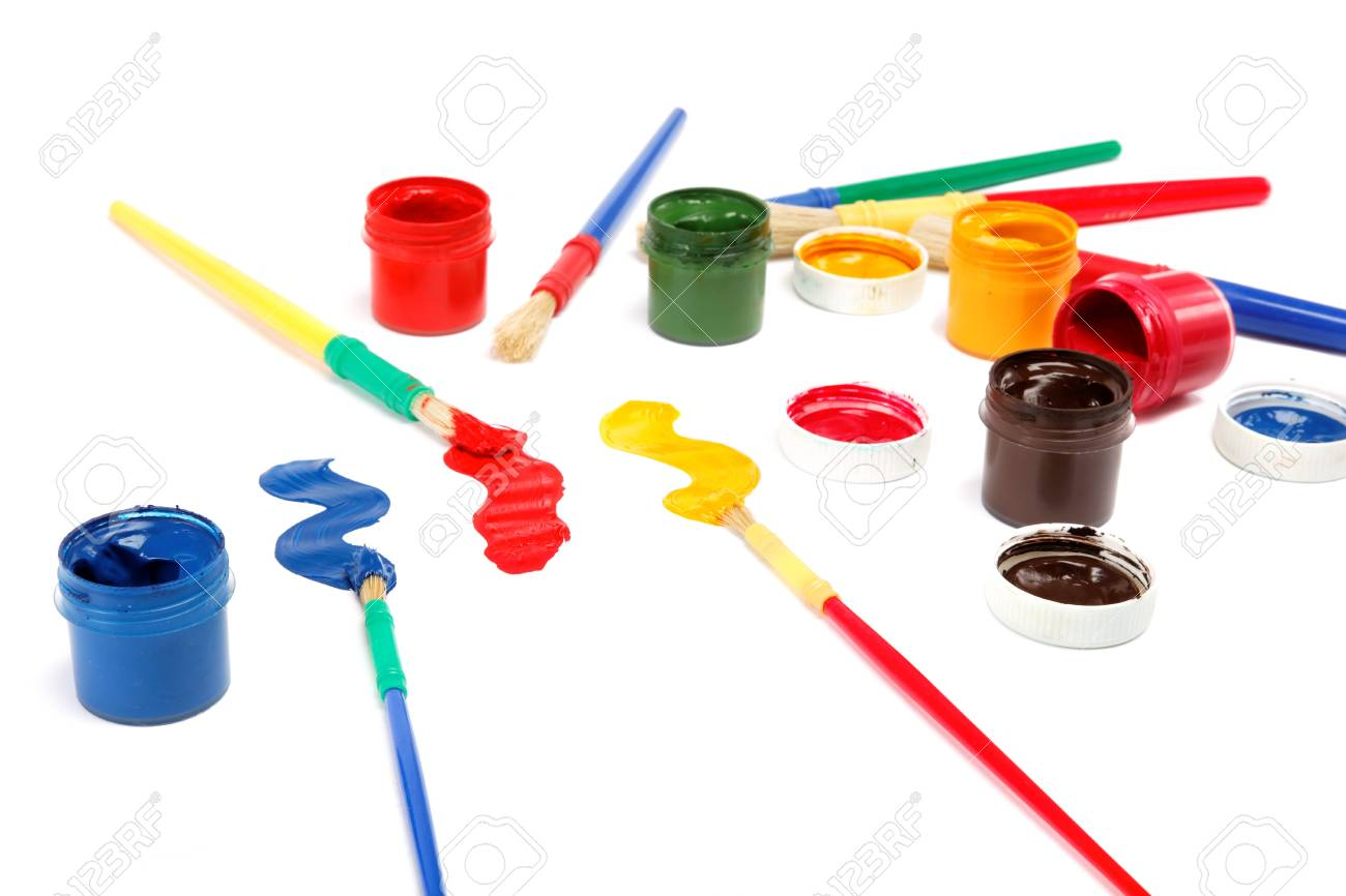Brushes and paints isolated on a white background. Stock Photo - 17797922