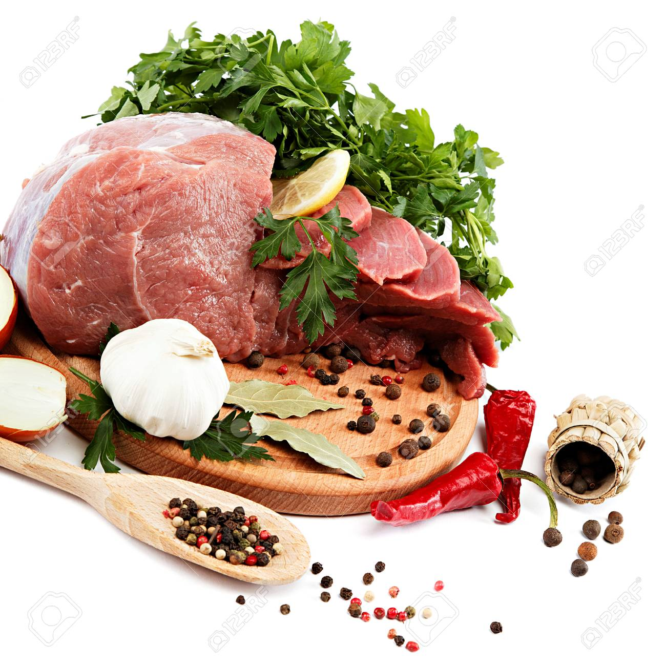 Raw meat, vegetables and spices on a wooden cutting board isolated on white background. - 30908226