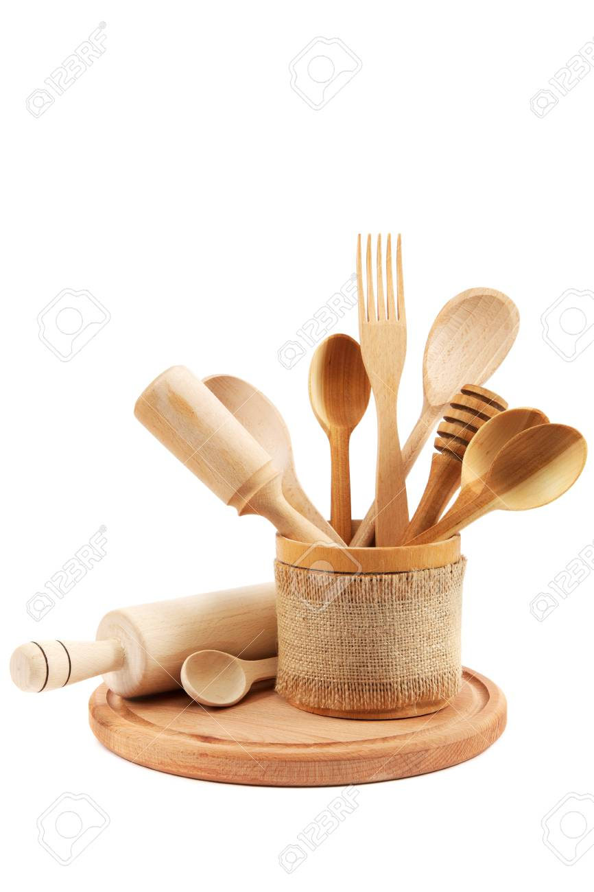 Wooden kitchen utensils isolated on white background. - 31101386