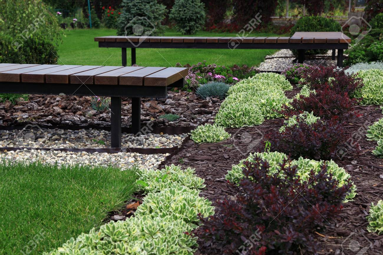 Beautiful Modern Decorative Garden Design. Stock Photo, Picture And ...