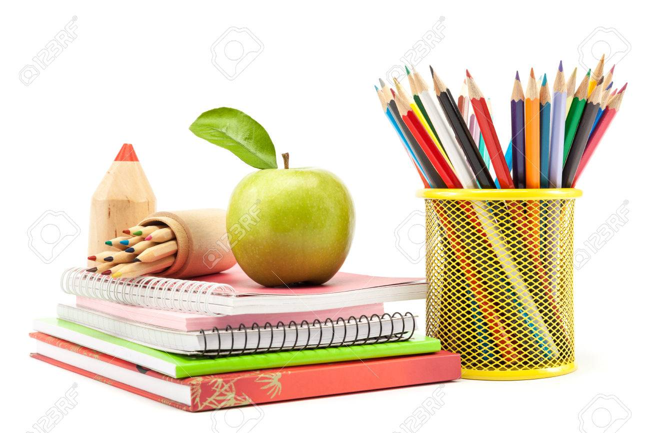 School and office supplies on white background, back to school - 37395807