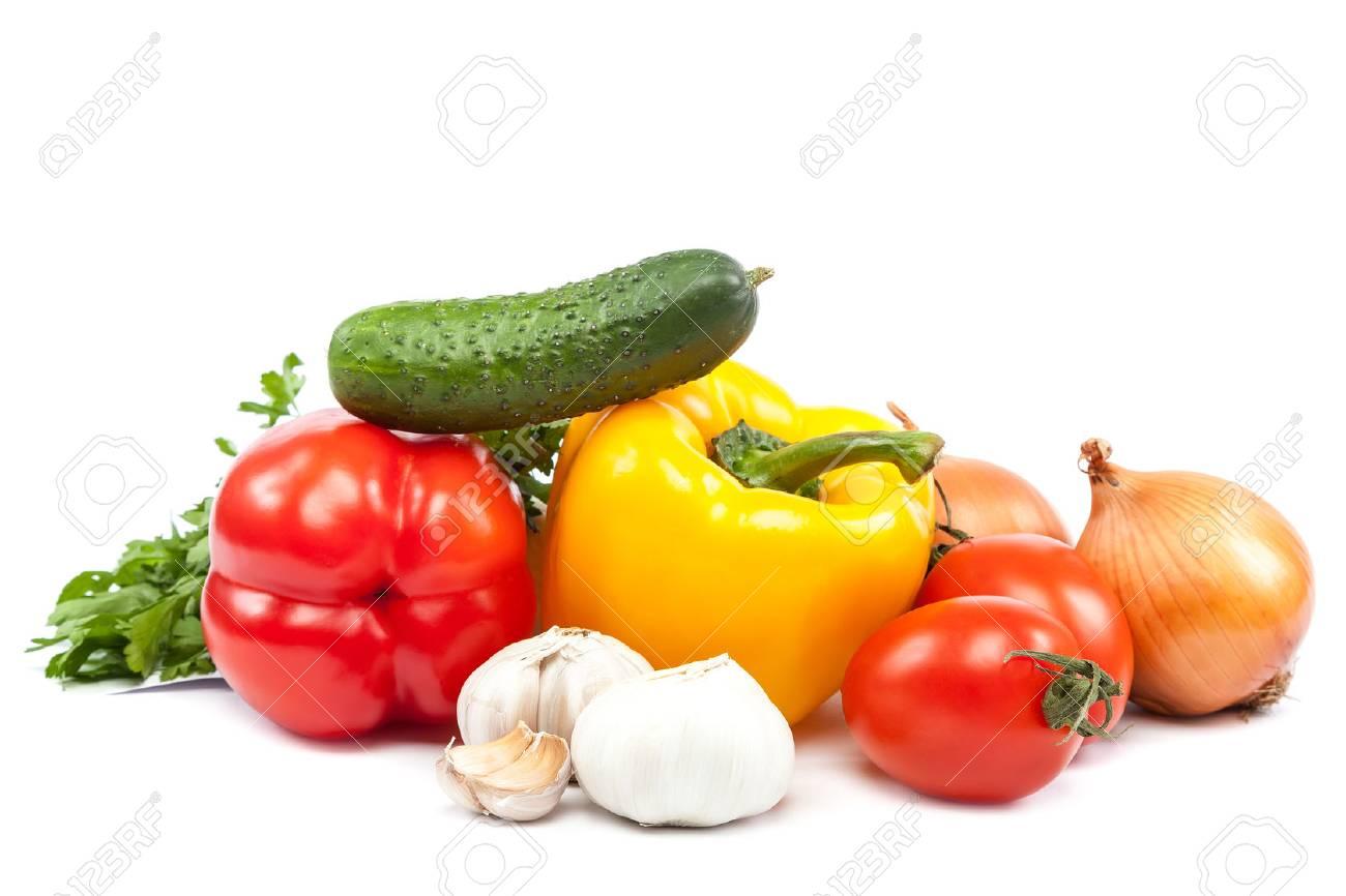 Fresh vegetables isolated on white background. - 44923276