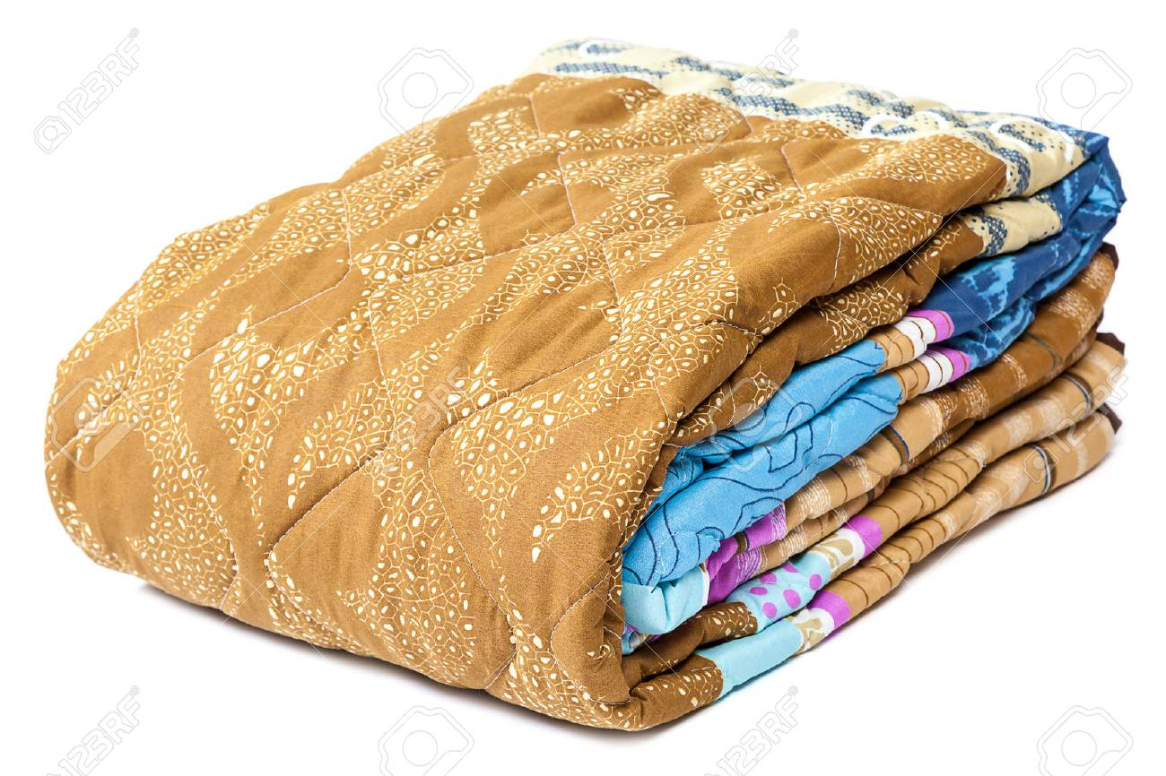Colored blanket isolated on a white background. - 52597517